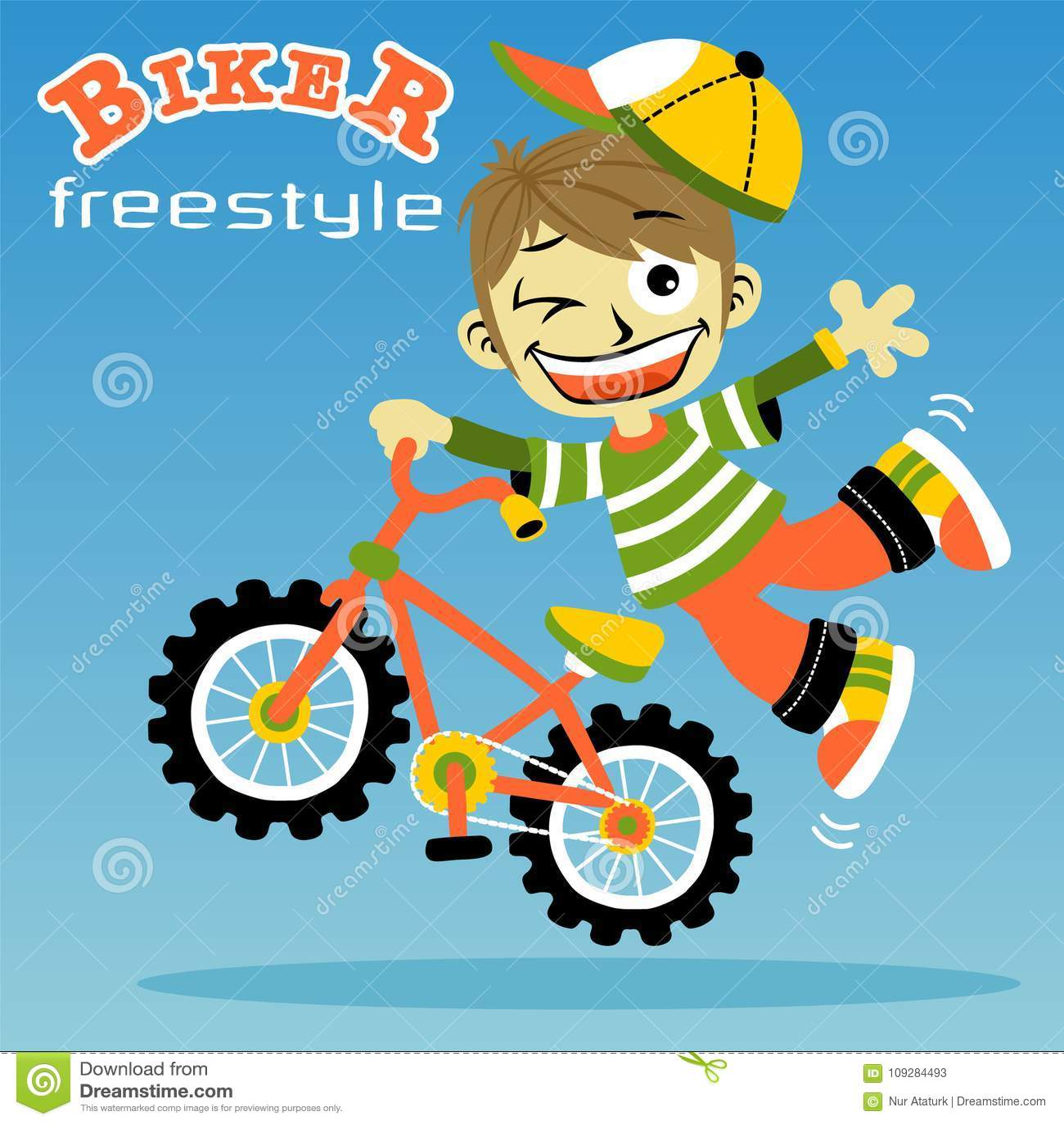 Young boy biker cartoon