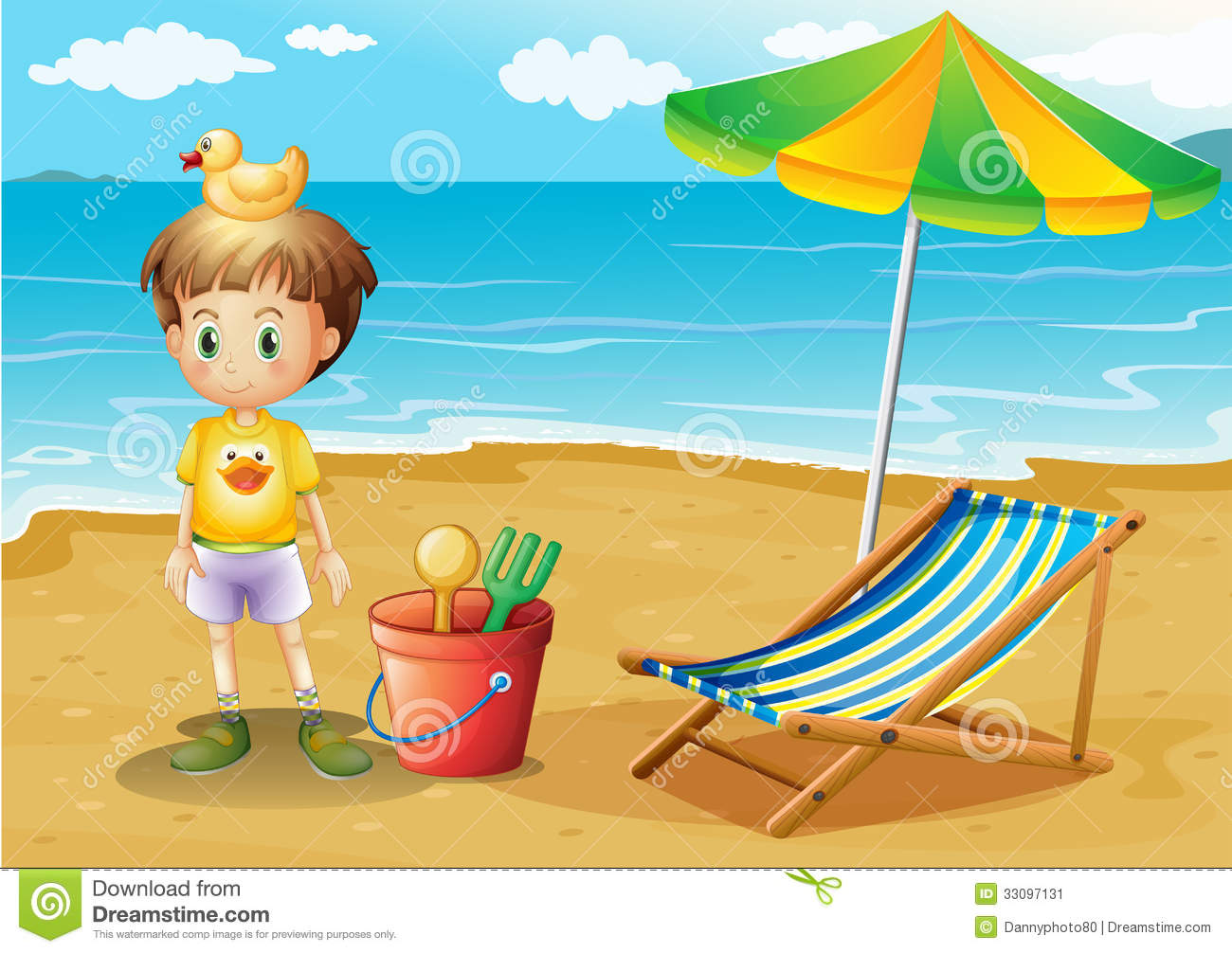 A Young Boy And His Toys At The Beach Stock Vector ...