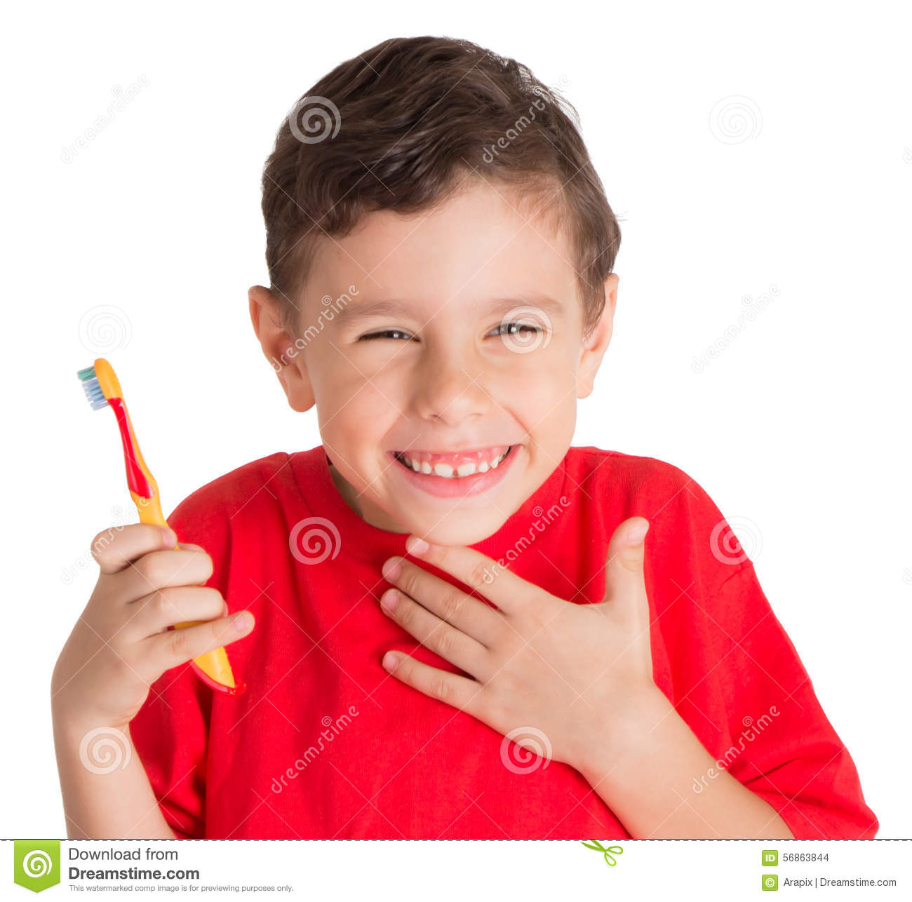 Young Boy holding Teeth Brush happily