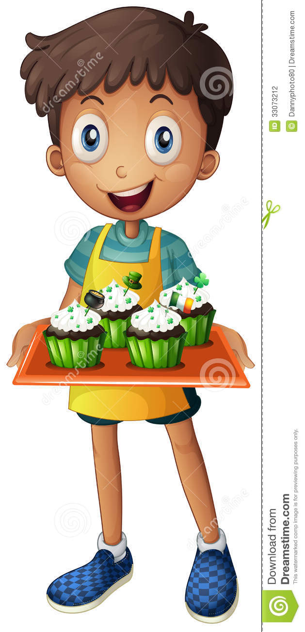 A Young Boy Holding A Tray With Cupcakes Stock Vector