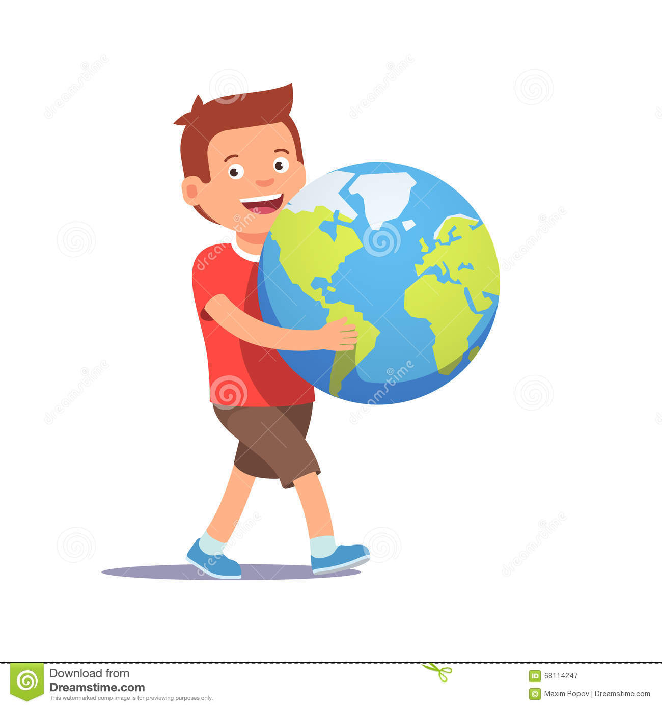 young boy kid carrying holding planet earth stock vector