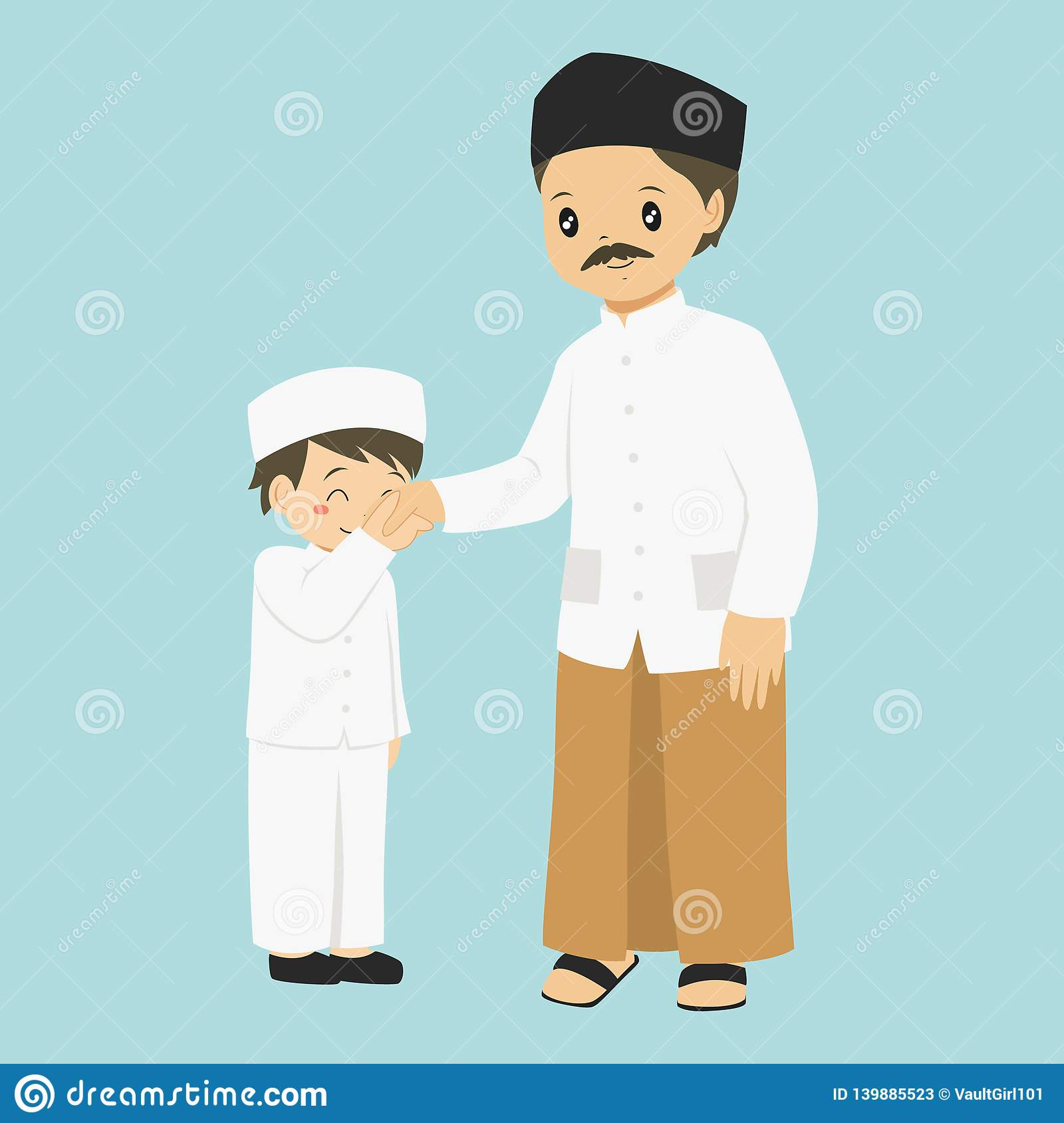 Muslim Boy Kissing His Father`s Hand Vector