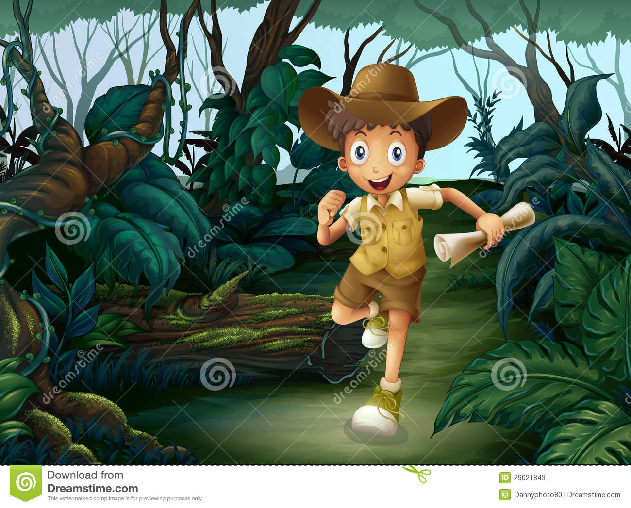 A young boy in the middle of the woods