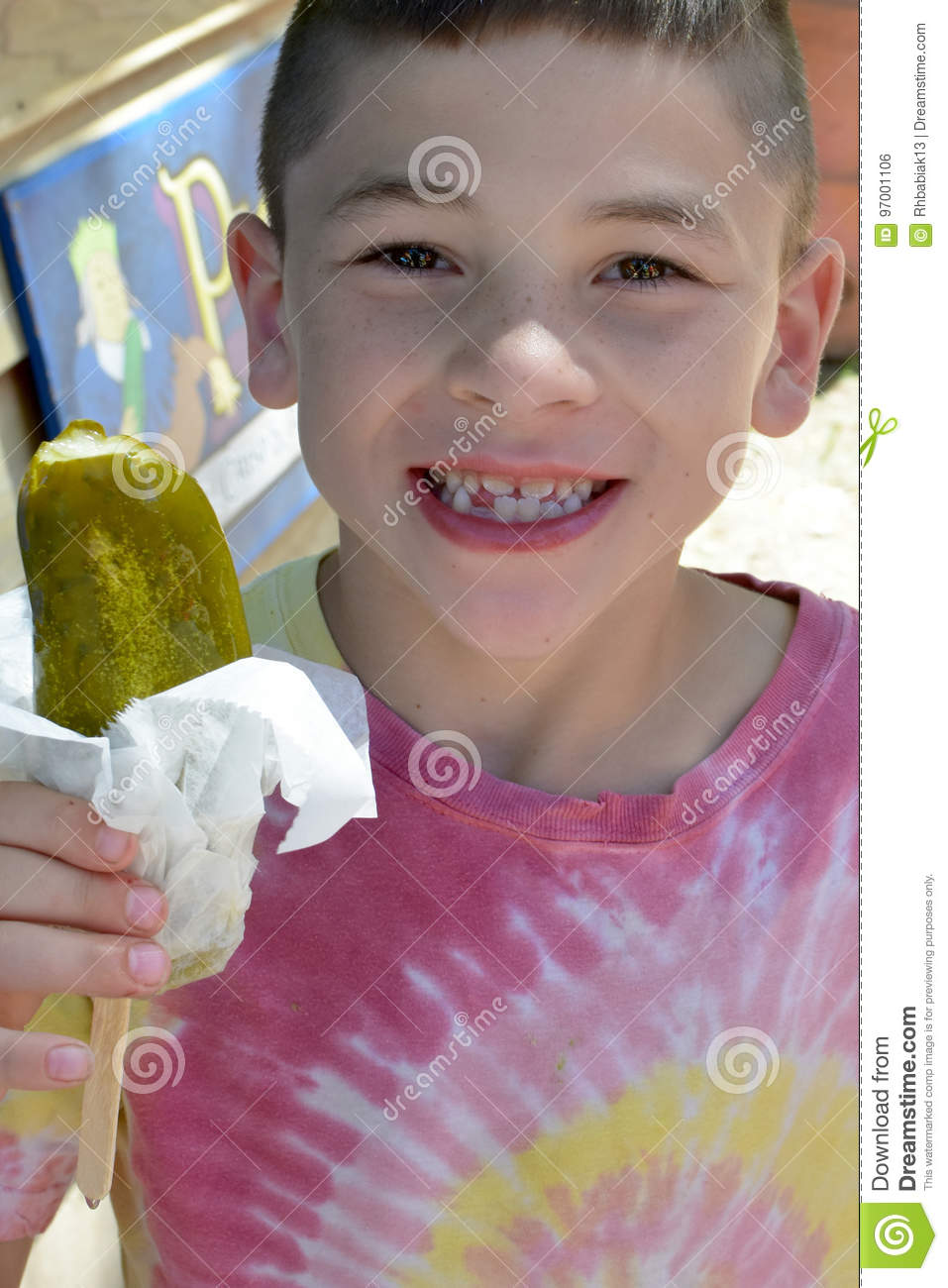 Boy With Dill Pickle Stock Photo Image Of Green Giant 97001106