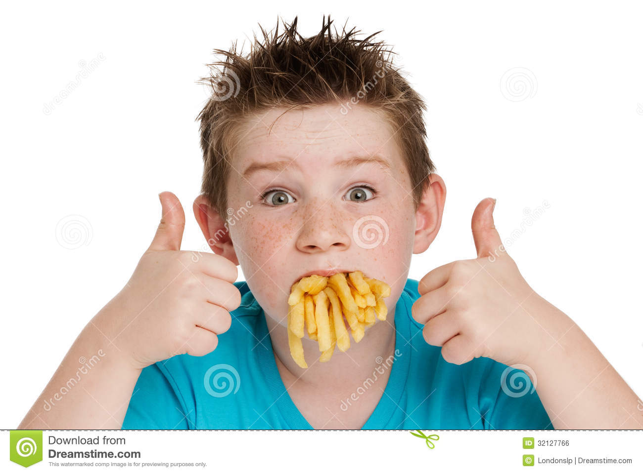 Young Boy With Mouth Full Of Chips Royalty Free Stock ...