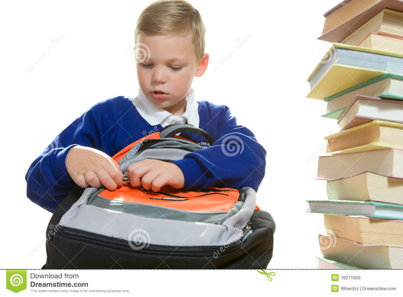 Young Boy Packing His School Bag Stock Image