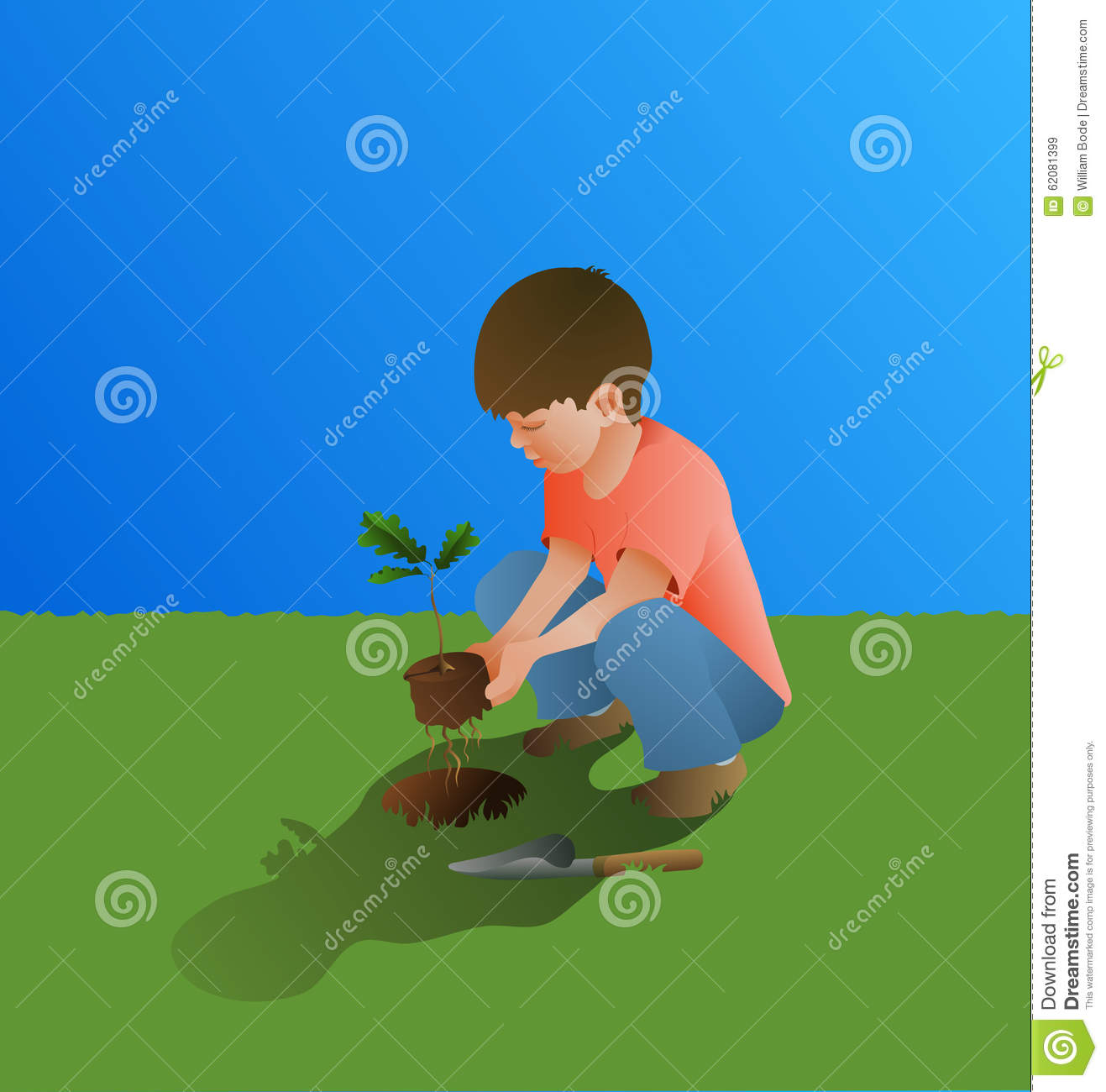 Planting An Oak Tree Best Time : Young boy planting oak tree stock illustration image