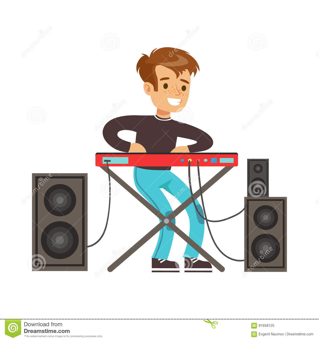 Young Boy Playing Electric Piano Colorful Character Vector