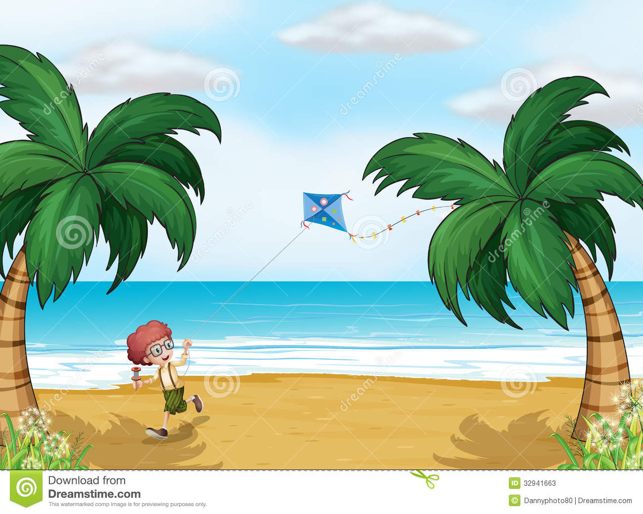 A Young Boy Playing With His Kite At The Beach Stock