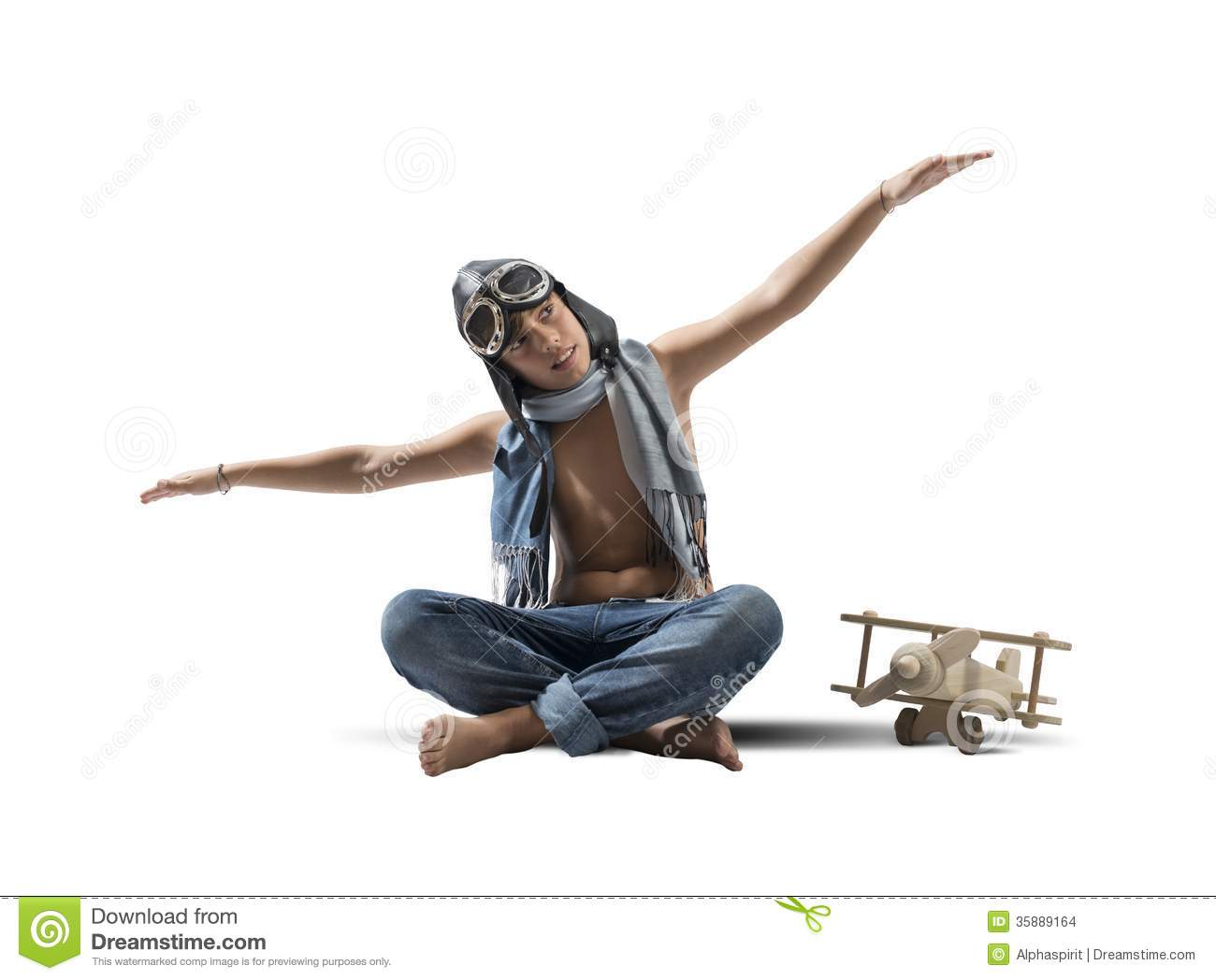 Young Boy Playing With Toy Airplane Stock Images Image