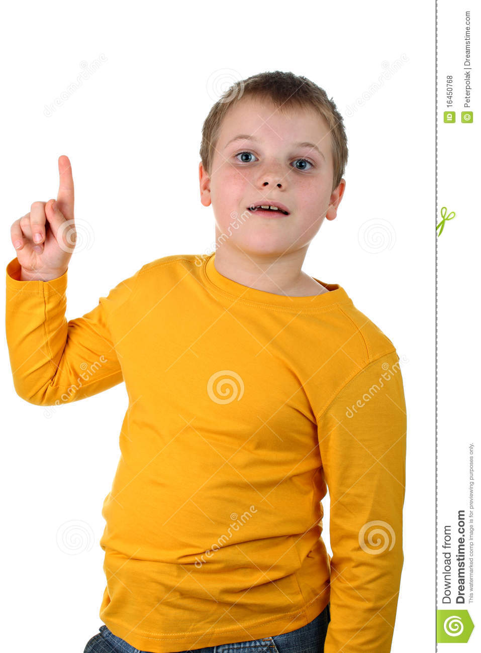 Portraits of a preteen boy wearing yellow top, both his index finger ...
