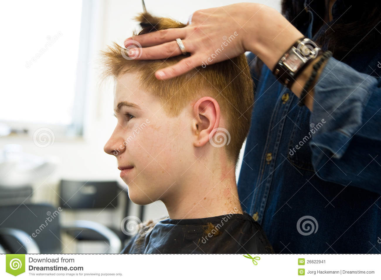 Young Boy With Red Hair Getting A Haircut Stock Image Image Of