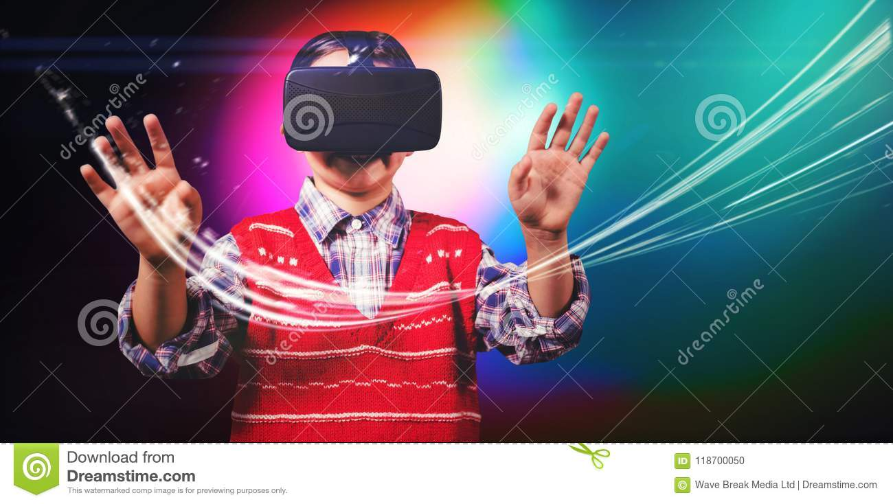 young boy in red jumper with virtual reality headset