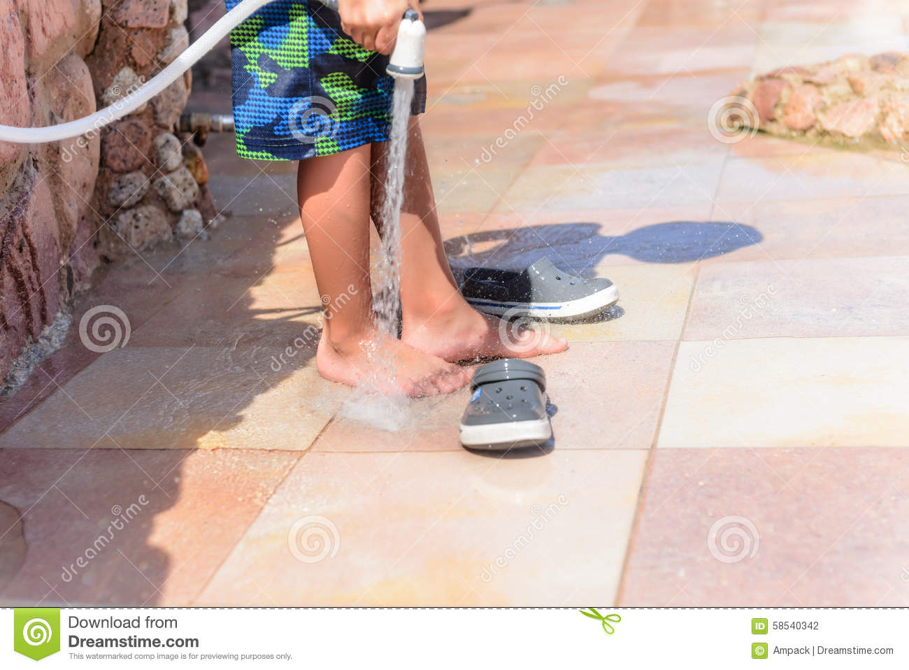 boy and shoes royalty free stock photography