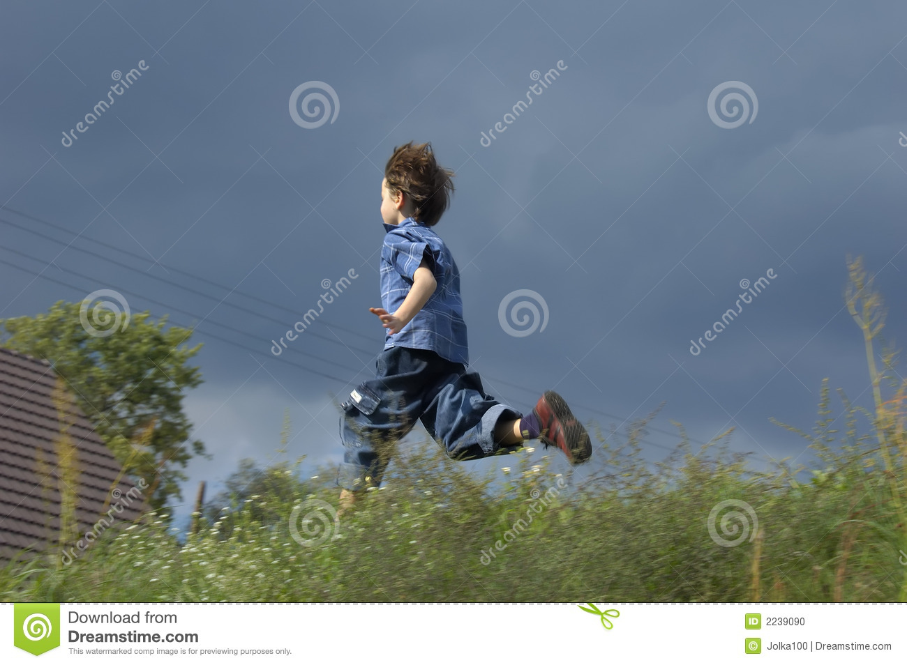 Young Boy Running Home Stock Photo Image 2239090