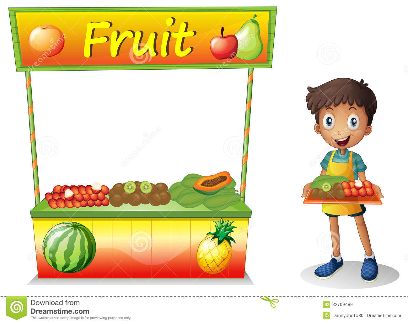Young Boy Selling Fruits Royalty Free Stock Images - Image: 32709489