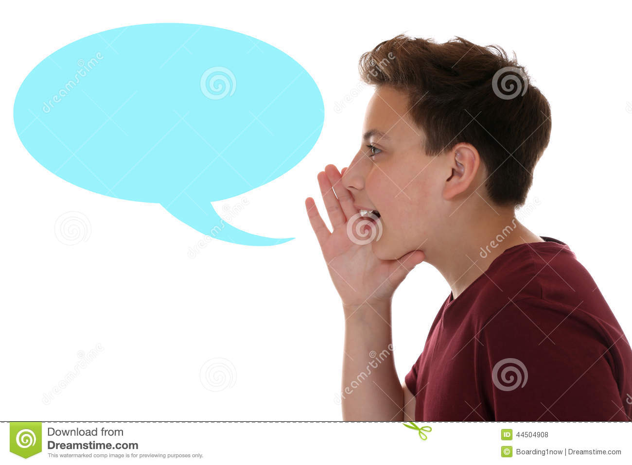 Young Boy Shouting With Speech Bubble And Copyspace Stock ...