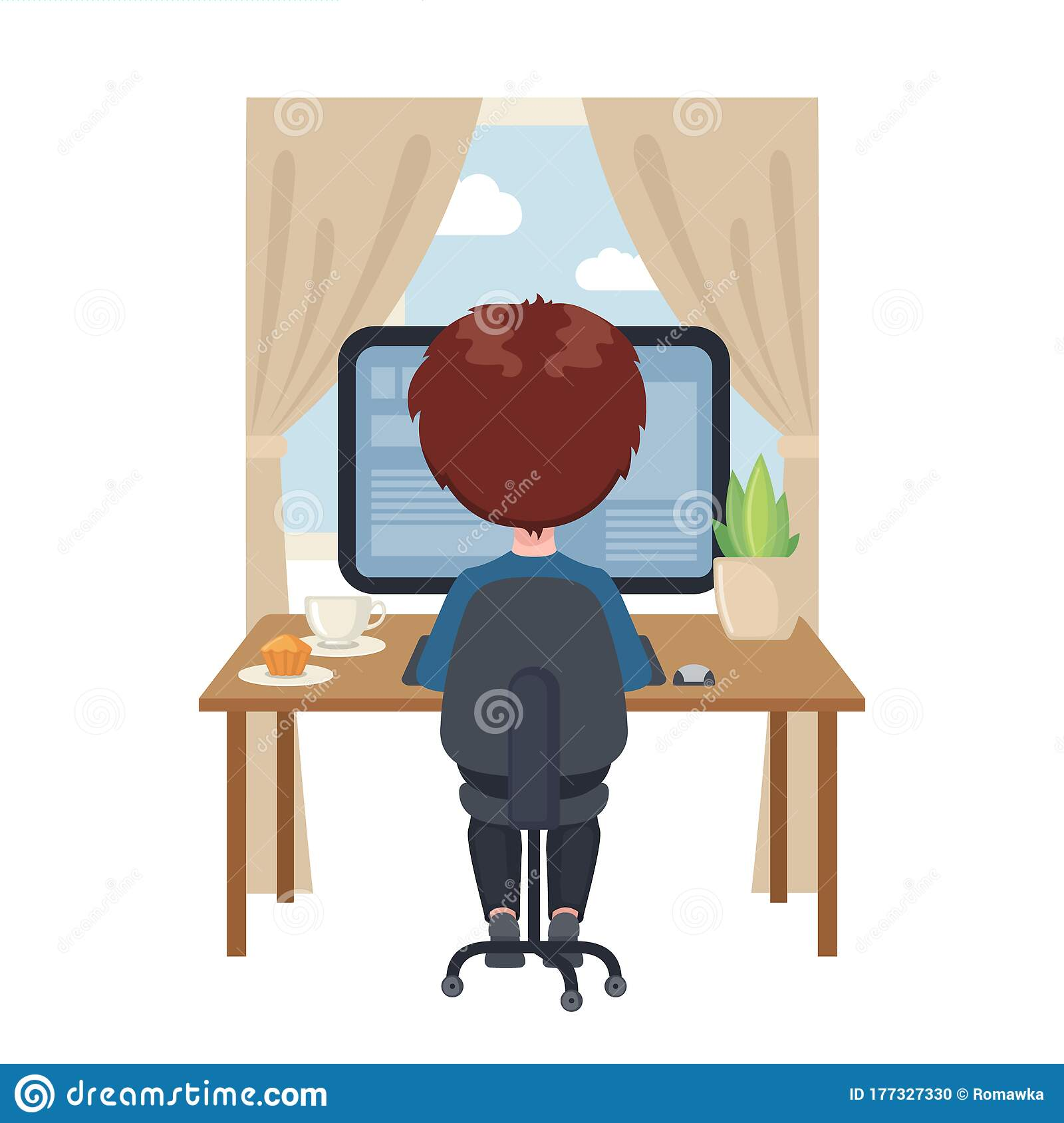 color image cartoon faceless man sitting in desk with