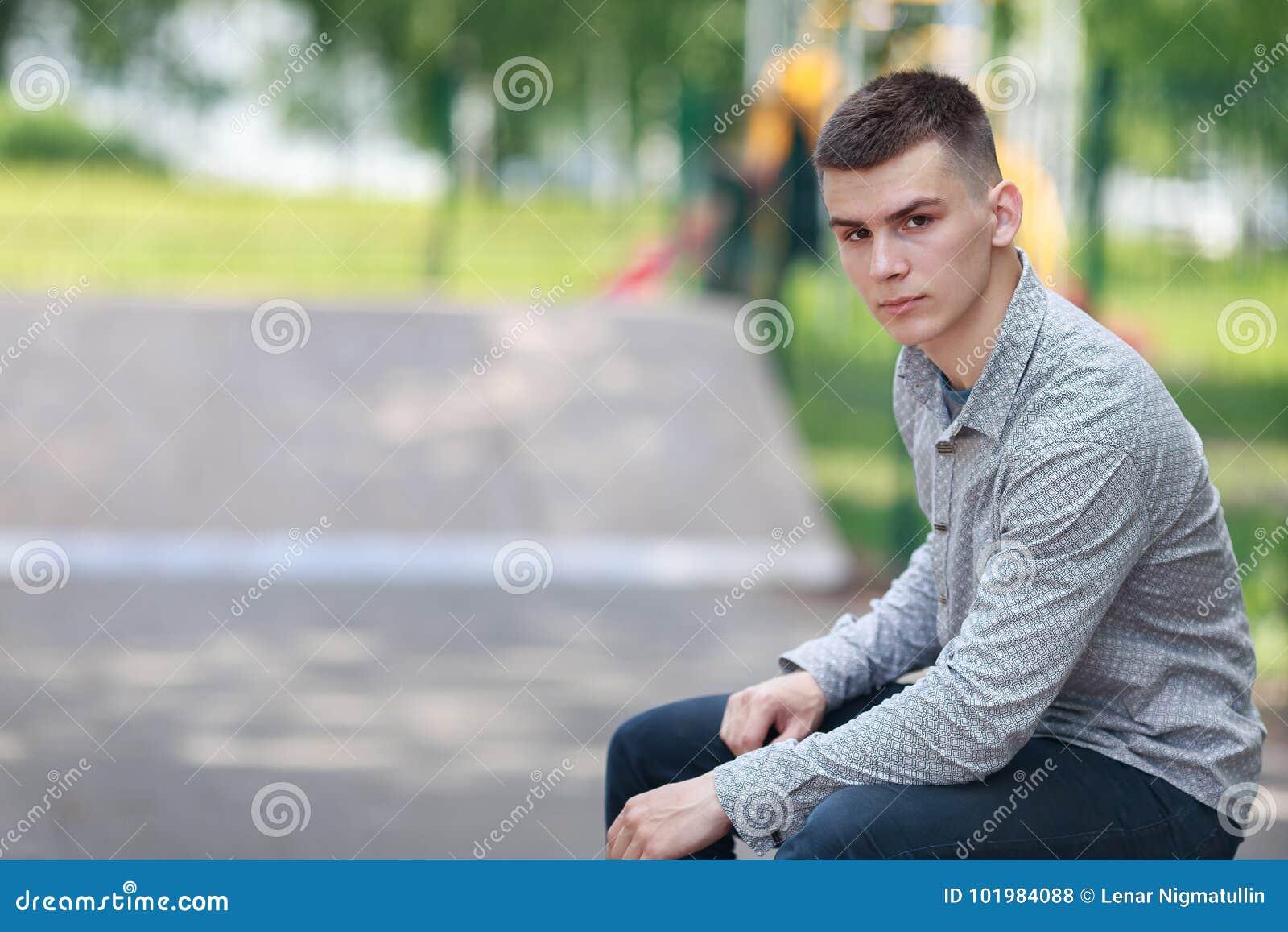 Brunette guy outdoor