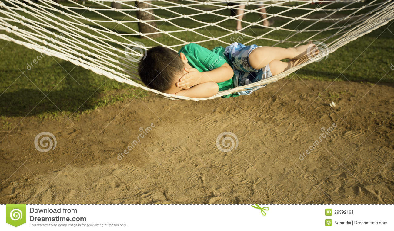 Young Boy Sleeping In Beach Hammock Stock Image Image