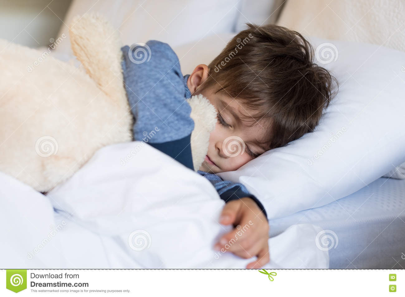 young boy sleeping stock image image of comfortable 70944919. Black Bedroom Furniture Sets. Home Design Ideas