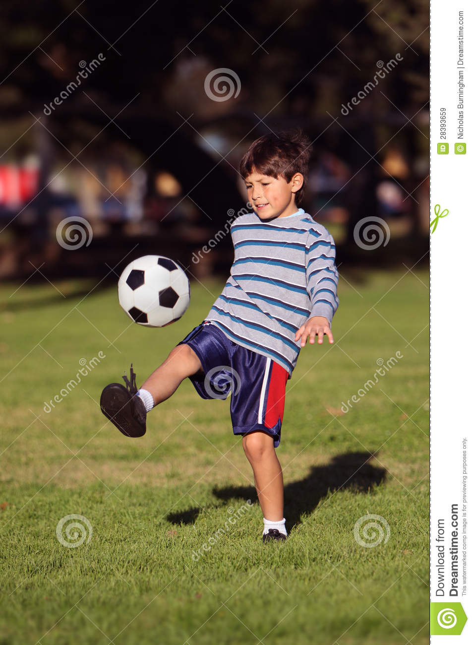 Young Boy With Soccer Ball In Park Royalty Free Stock