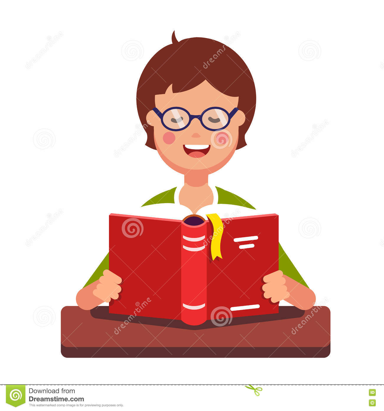 young boy student wearing glasses reading a book stock vector