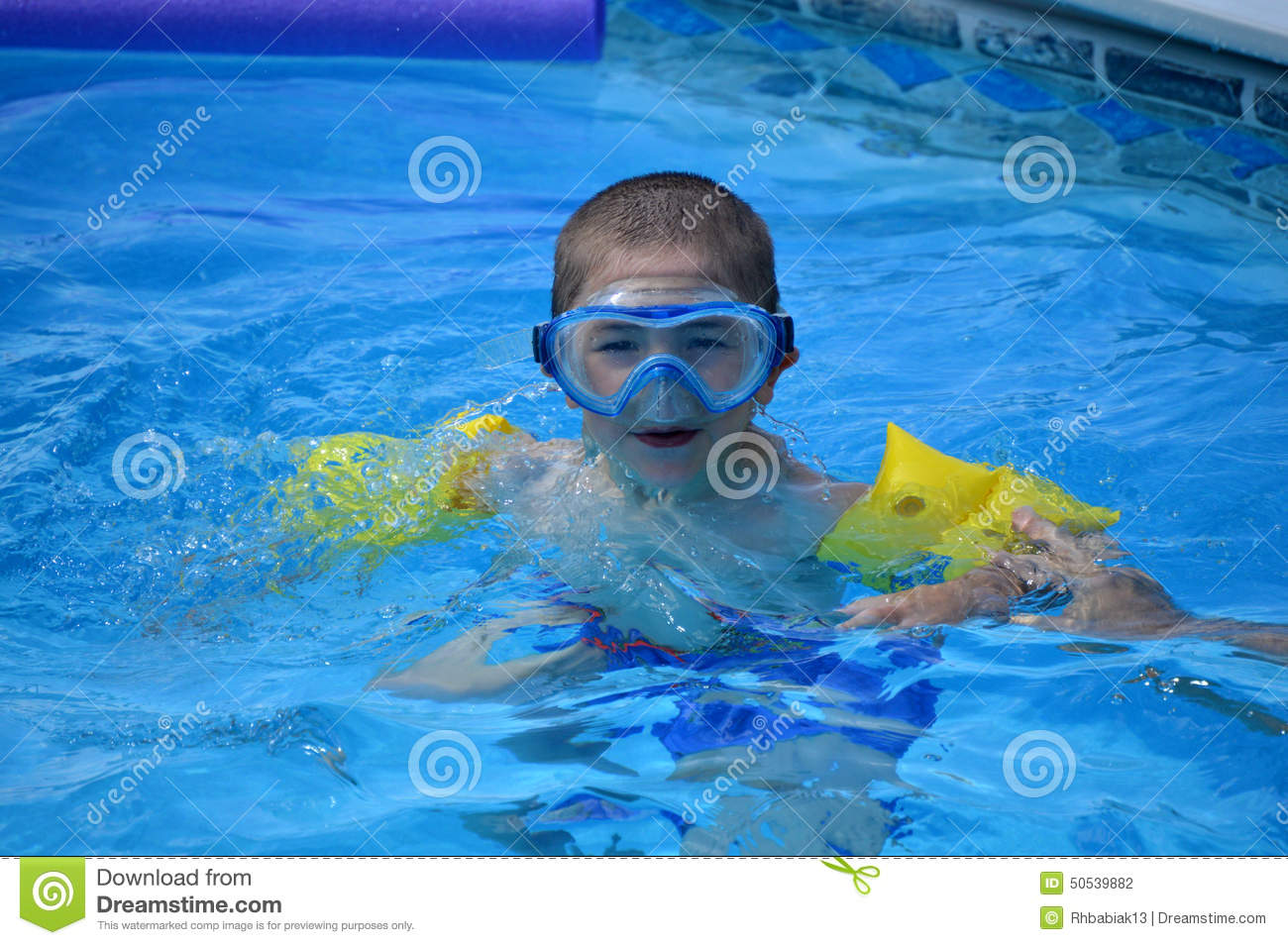 Young Boy Swimming Goggles Stock Photo Image Of Blue