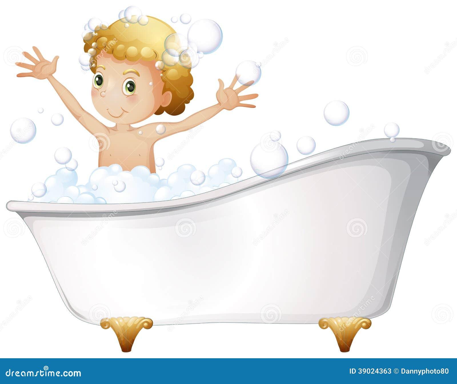 A Young Boy Taking A Bath At The Bathtub Stock Vector