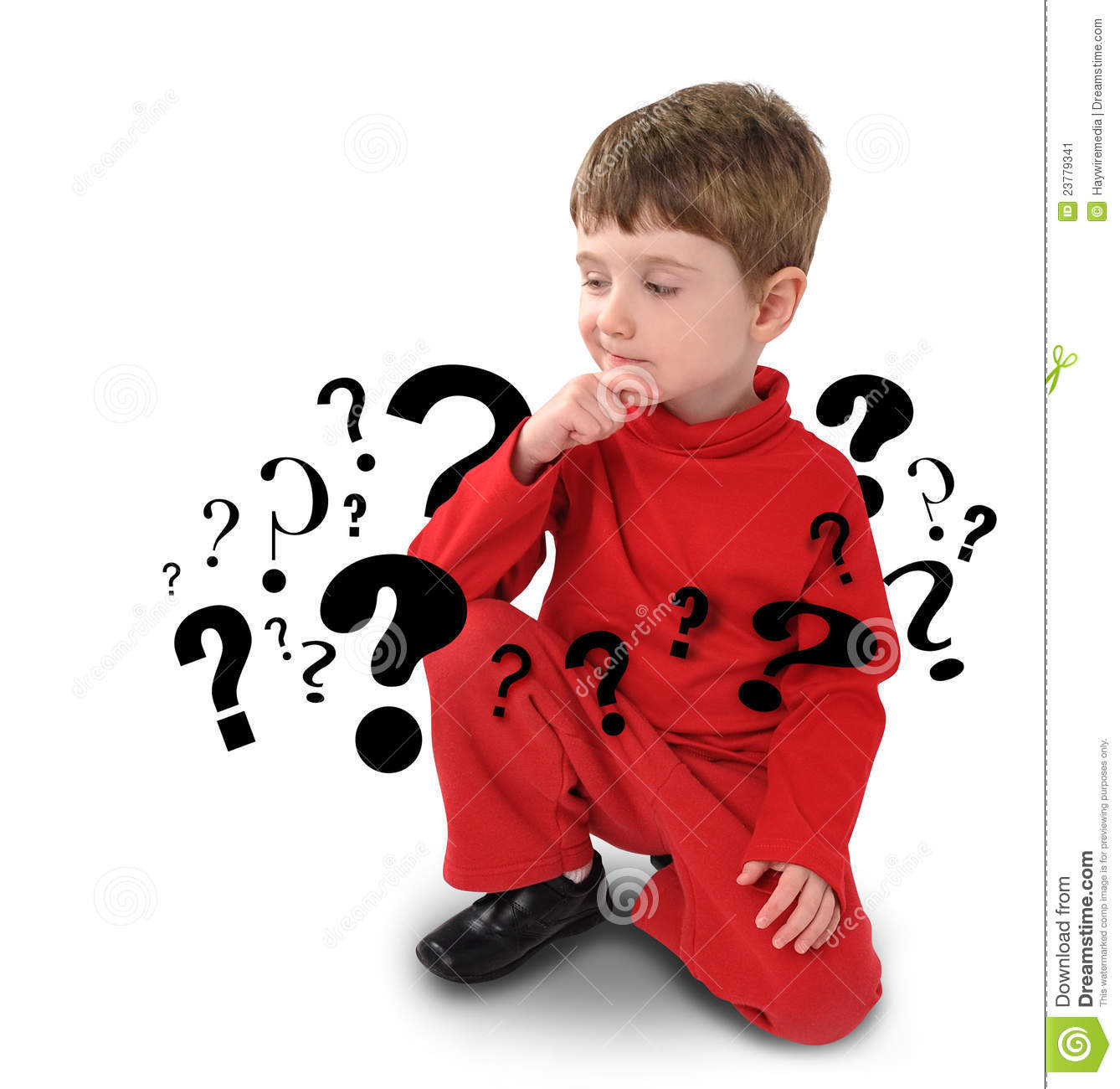 question stock image young boy with thinking about question stock image image 8775