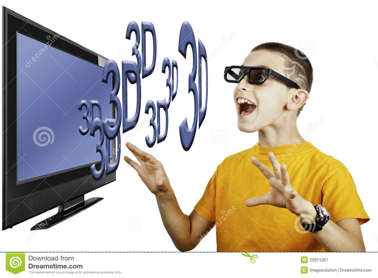 Young boy watching 3D television