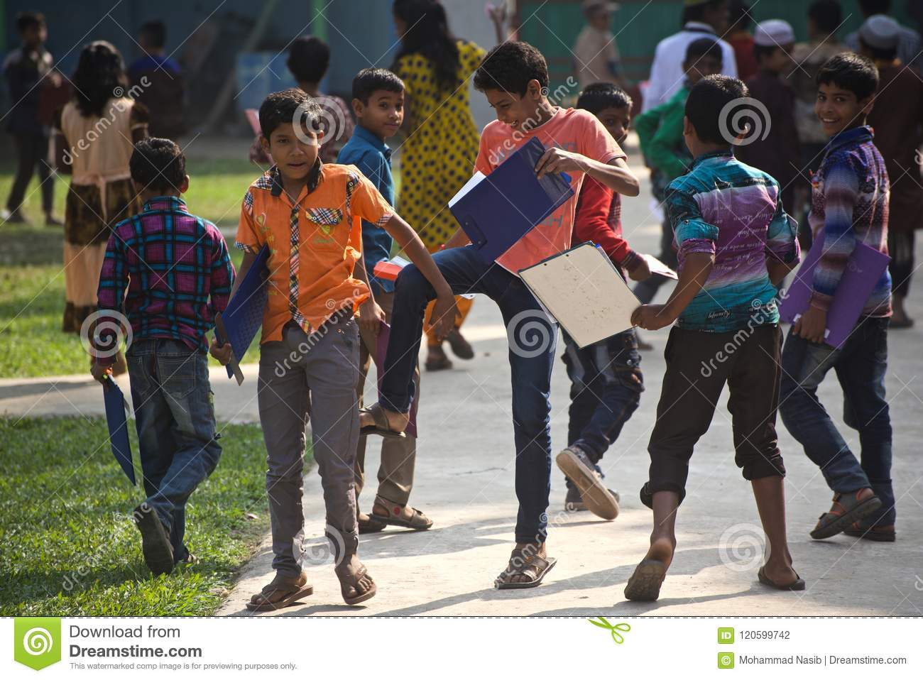 Download Young Boys Are Making Fun After Finishing The Exam In A School Campus Editorial Photography - Image of poor, examination: 120599742