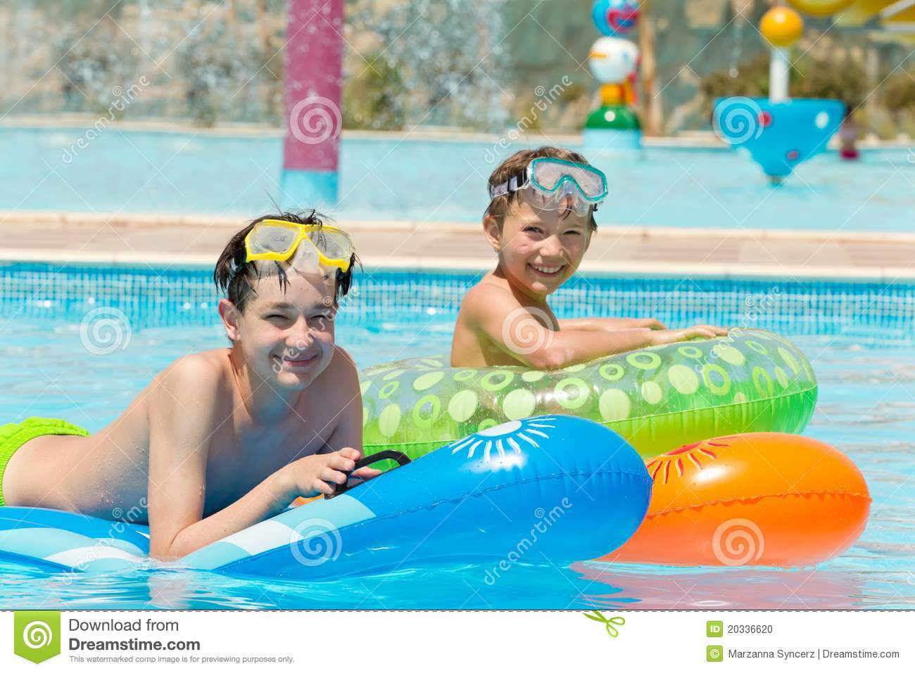 Young Boys In Swimming Pool Stock Photo - Image of kids ...