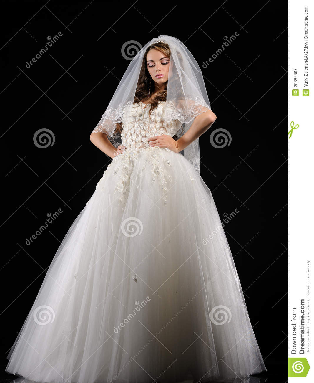 Young bride dressed in white wedding dress royalty free for Wedding dresses for young brides