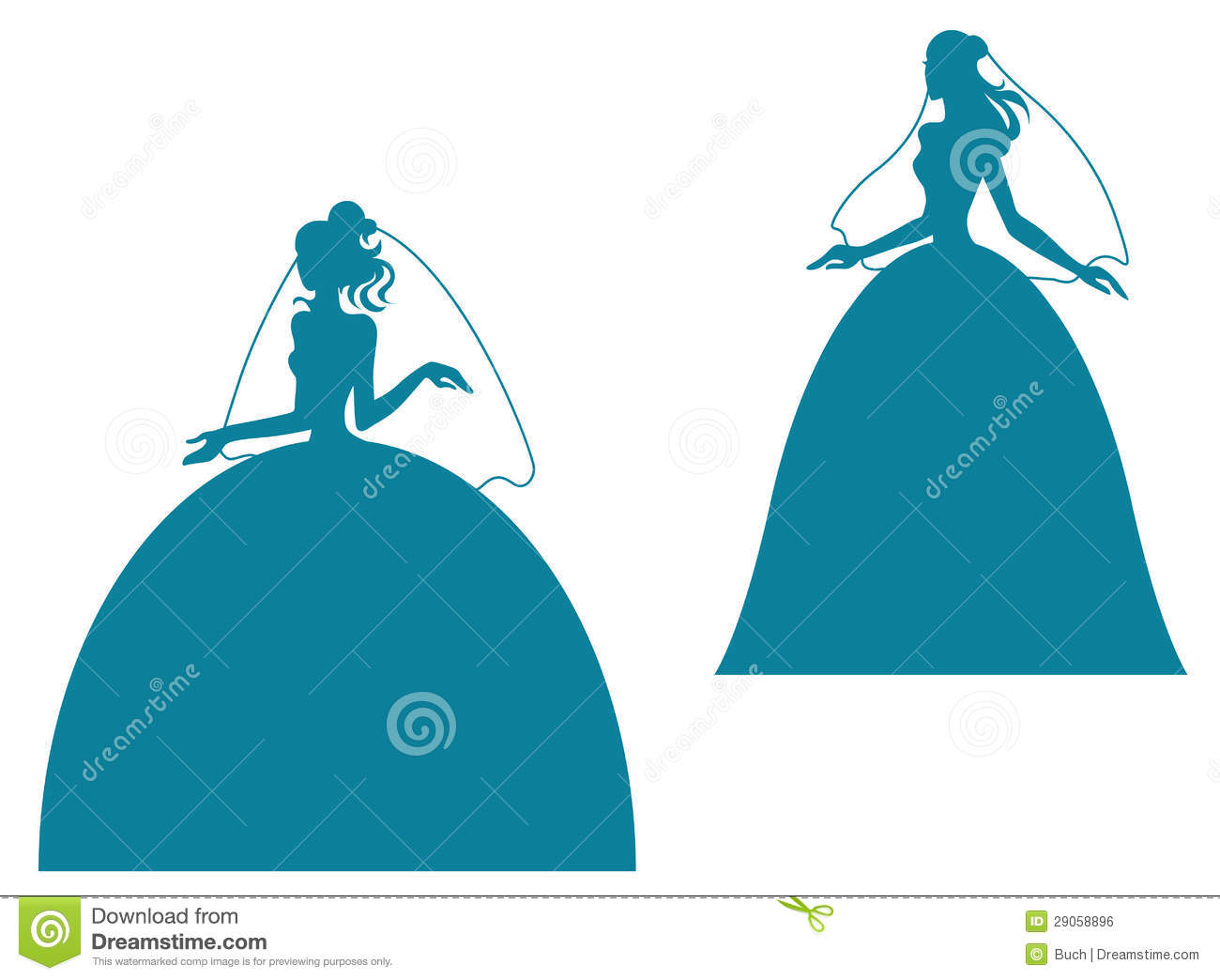 Young Bride Silhouette In Wedding Stock Vector Image