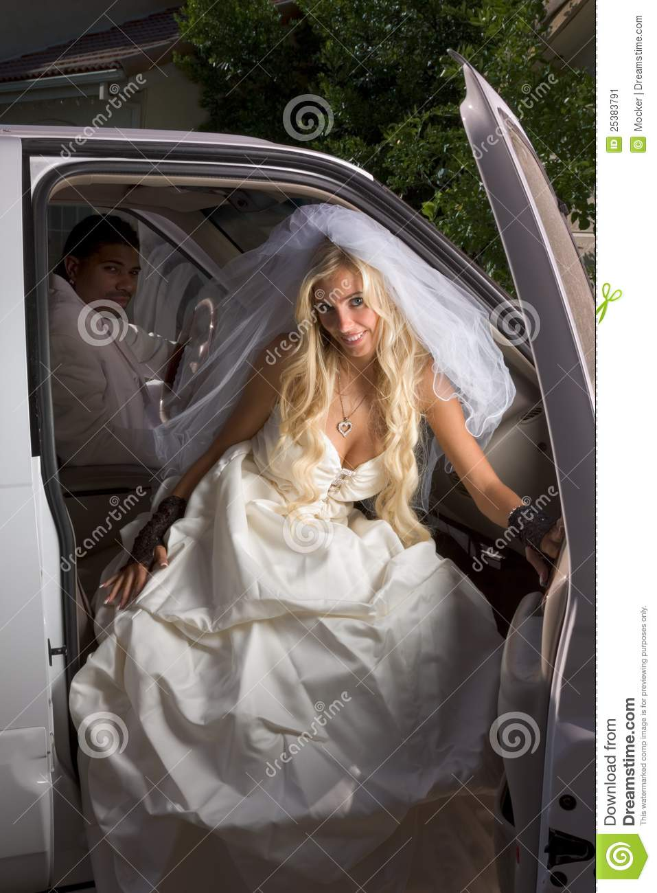 Young Bride In Wedding Dress Getting Off Car Stock Image ... African American Love Pictures