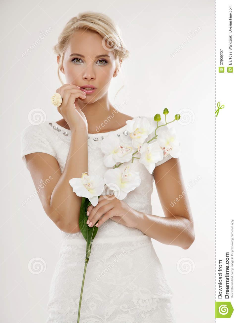 Young Bride In White Wedding Dress Happy Smiling Stock