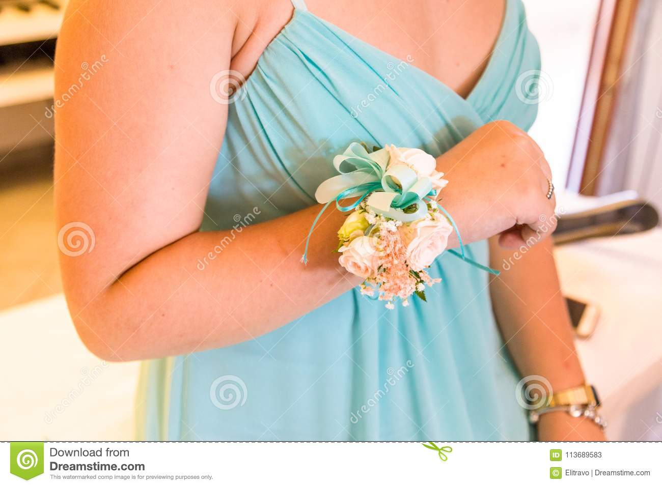 80b9634f00 Young Bridesmaids With Flower Bracelet Stock Image - Image of ...