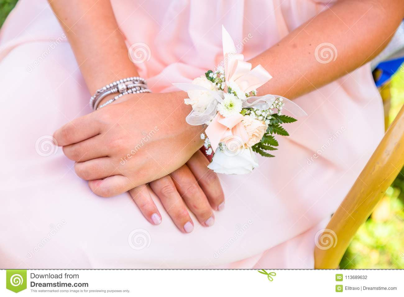 daf7fd1ab8 Young Bridesmaids With Flower Bracelet Stock Photo - Image of ...