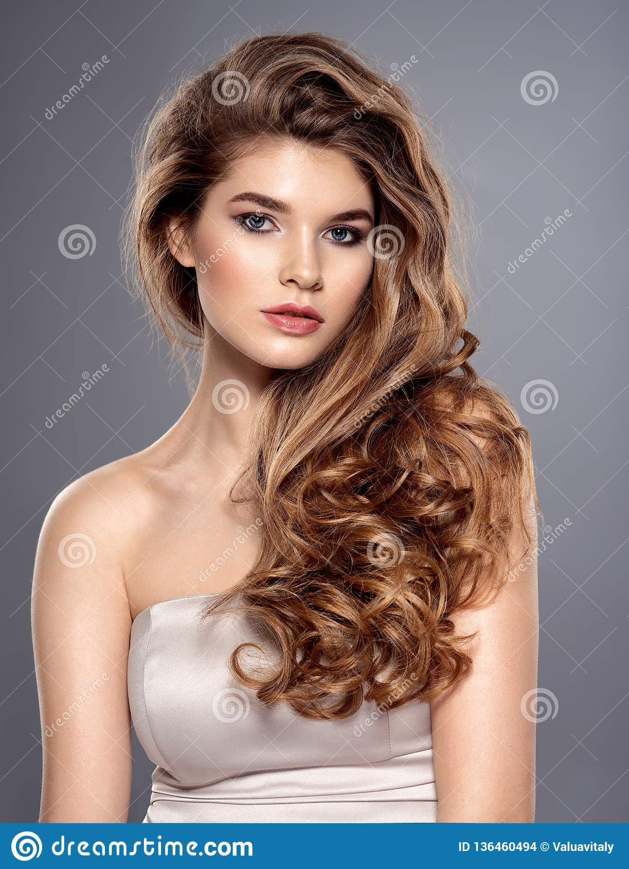 Young Brown Haired Woman With Long Curly Hair Stock Photo Image Of Model Brown 136460494