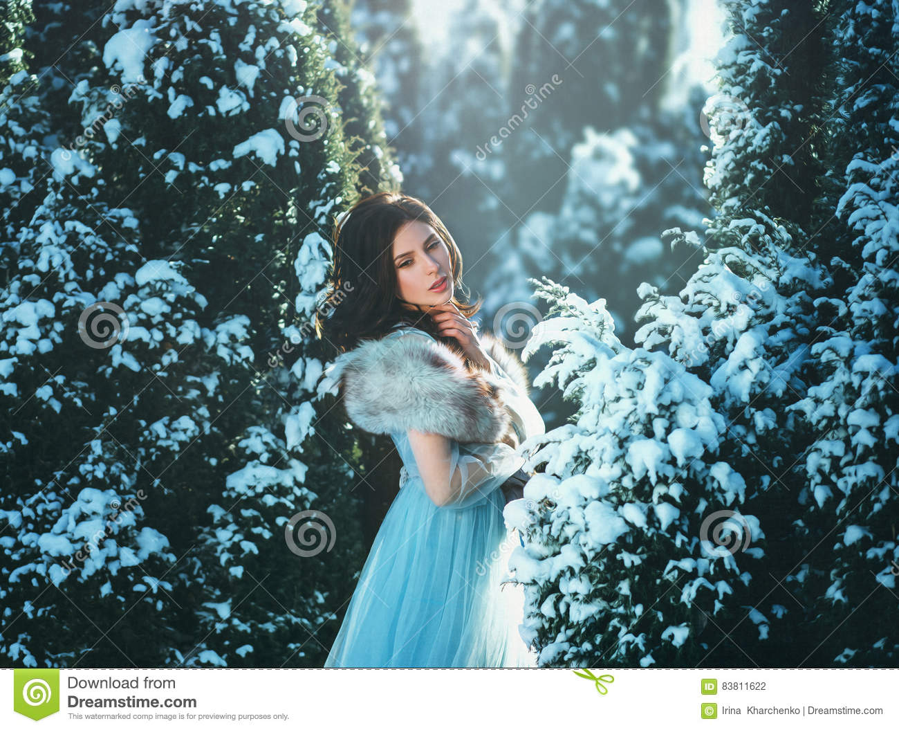Young brunette girl is in blue vintage dress