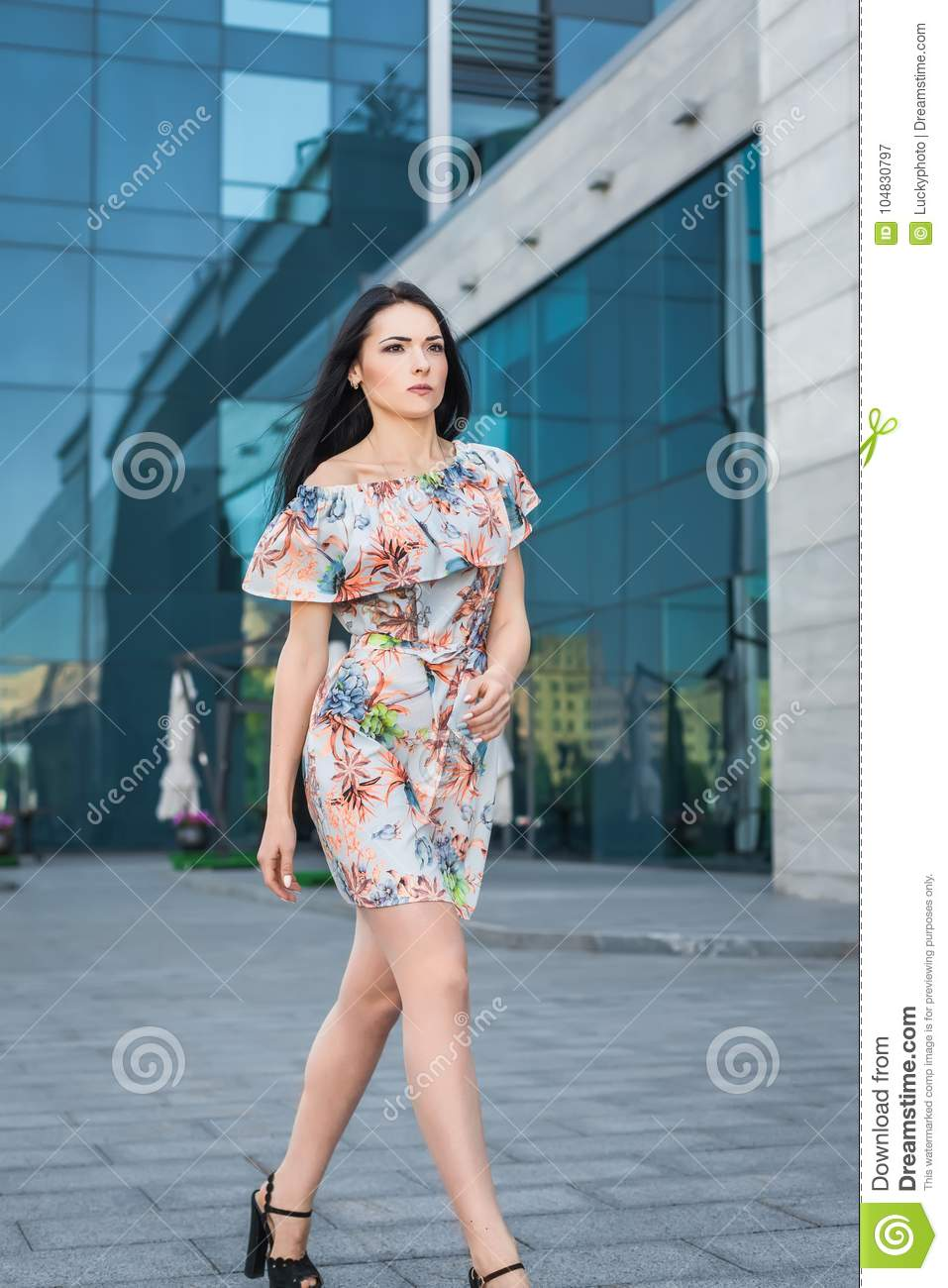 Young Model Walking In The Street Stock Image Image Of Dress