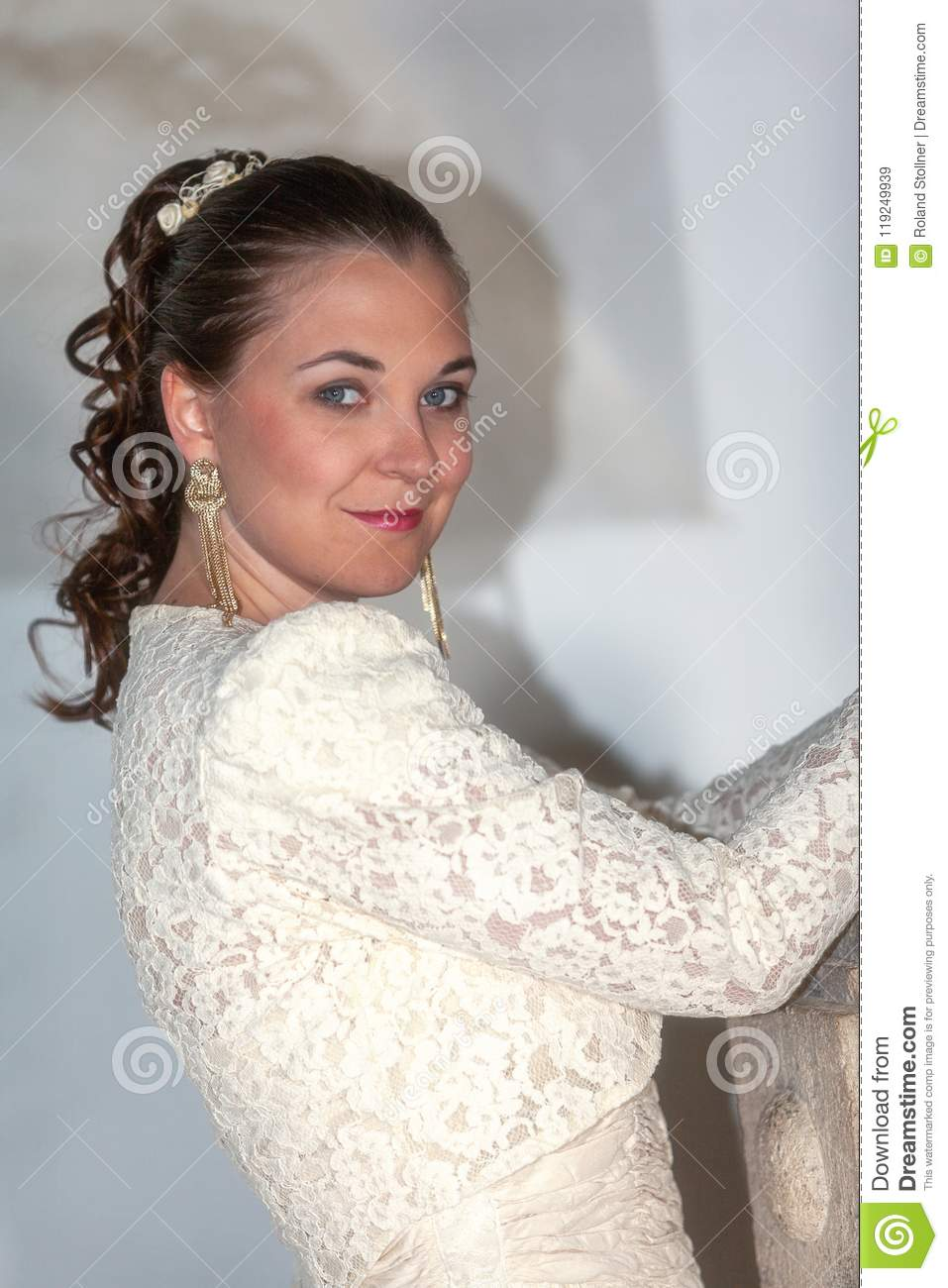 Beautiful Woman In Wedding Dress Stock Image Image Of Lace