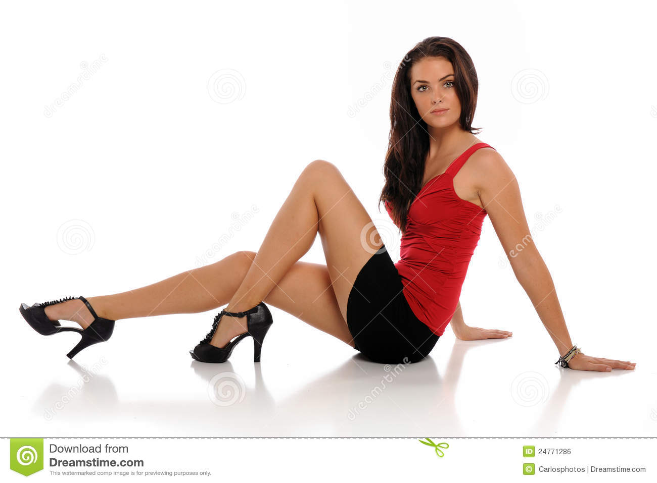 Excellent Young Woman Wearing A Mini Skirt Royalty Free Stock Images  Image