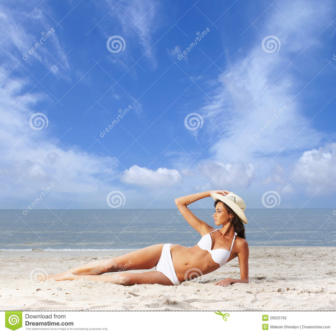 Couple At The Beach Stock Image Image Of Caucasian: A Young Brunette Woman In A White Swimsuit On The Beach