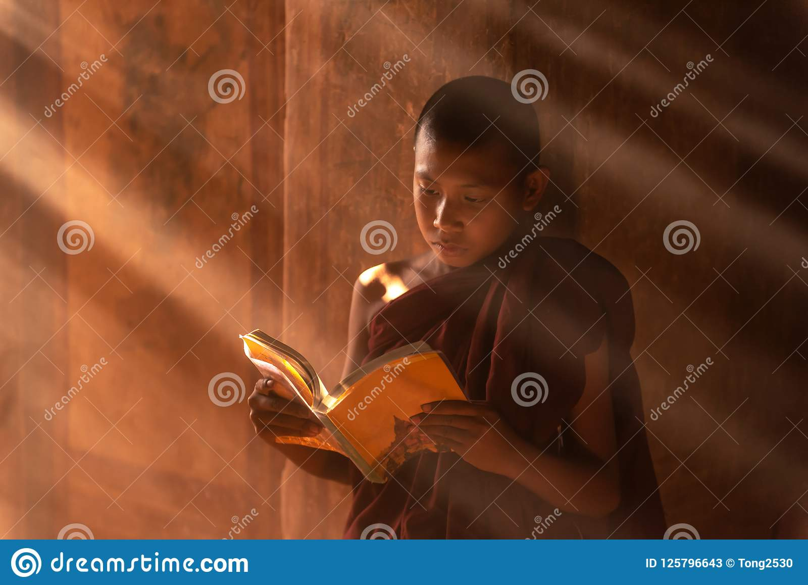 Young Buddhist Novice monk reading in Bagan Myanmar