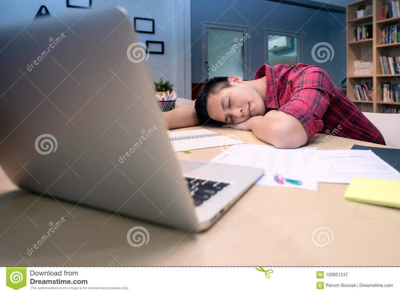 Young Business Entrepreneur Sleeping After Work Stress Stock Image Image Of Internet Fintech 100851247