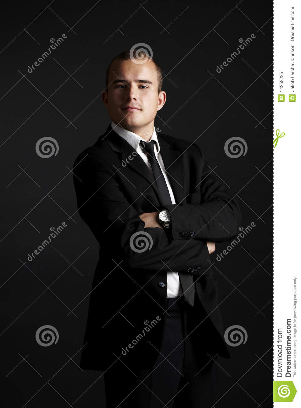 Young business man on black
