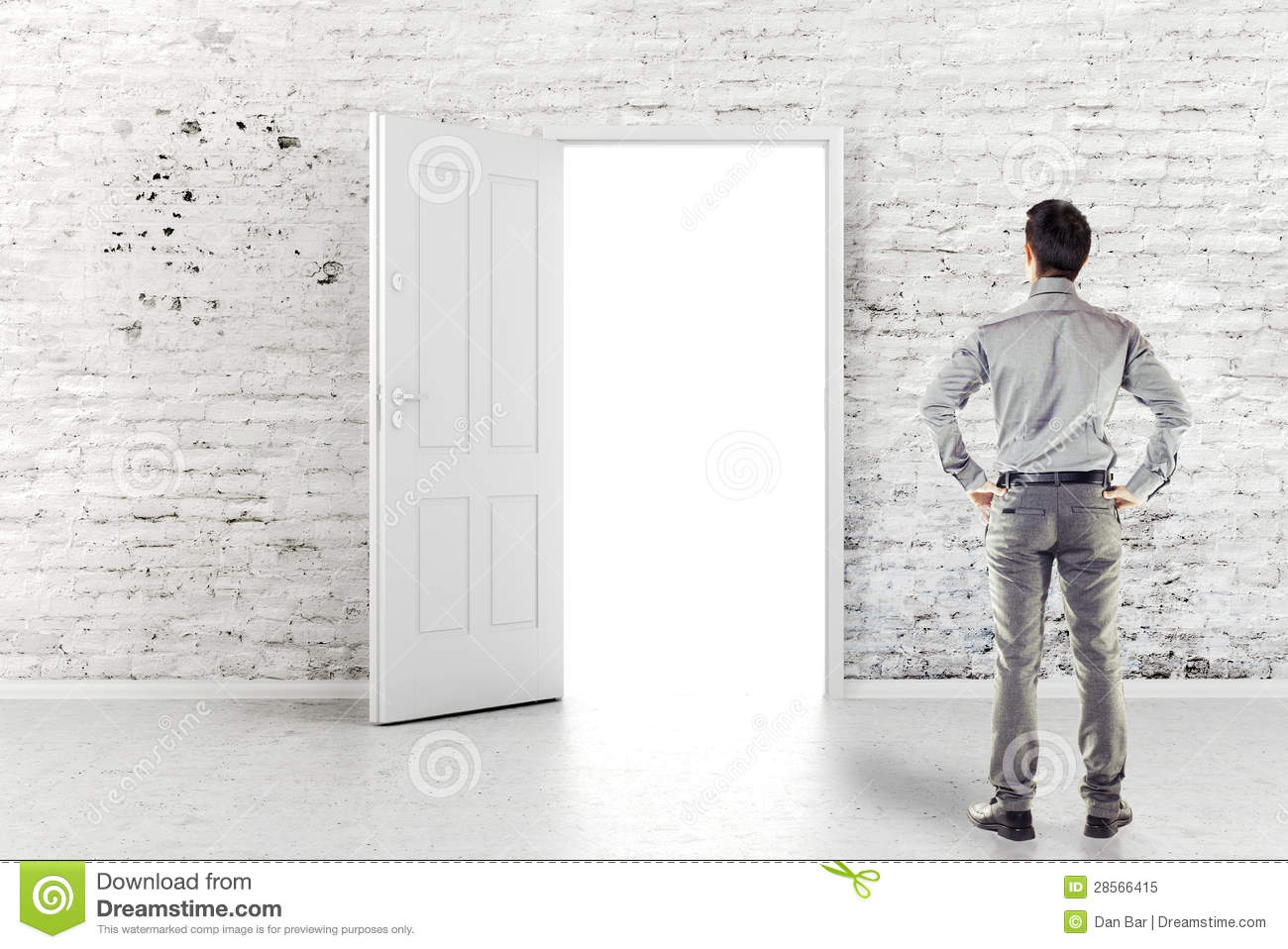 Young business man in front of an open door. Human leadership.  sc 1 st  Dreamstime.com & Young Business Man In Front Of An Open Door Stock Illustration ...