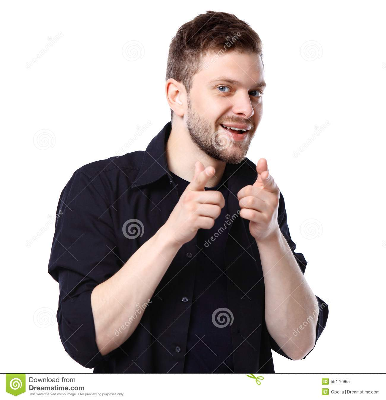 Young business man pointing to the camera on white